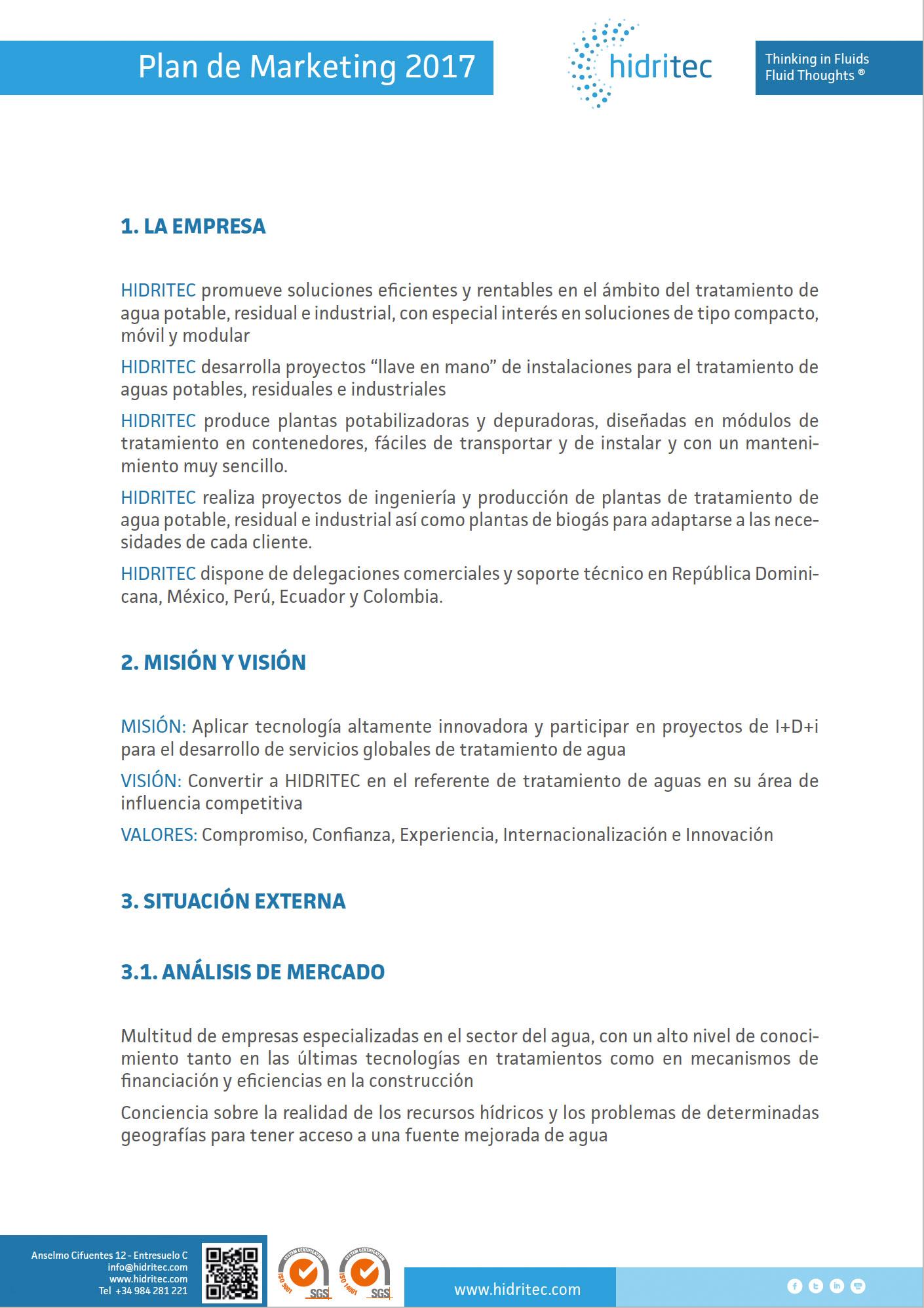 Plan de Markting Hidritec interior